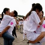 Modern Chinese kissing fun