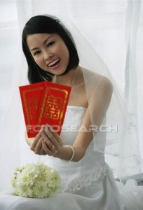 bride with hong bao