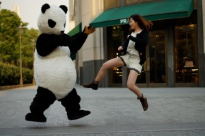 Chinese girl fighting with chinese panda