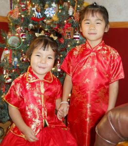 chinese children in xmas dresses