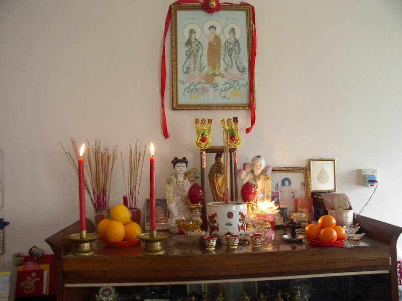 Chinese altar for ancestor worship