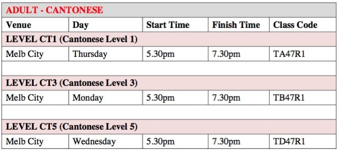 Melbourne Cantonese classes timetable