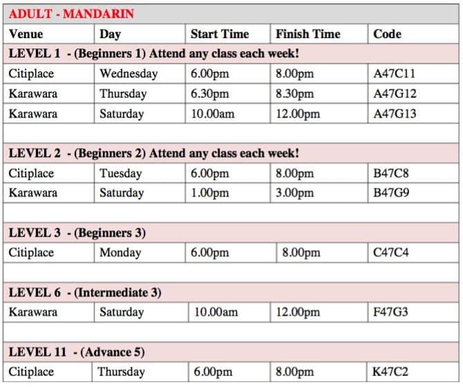 Timetable for Perth Mandarin classes