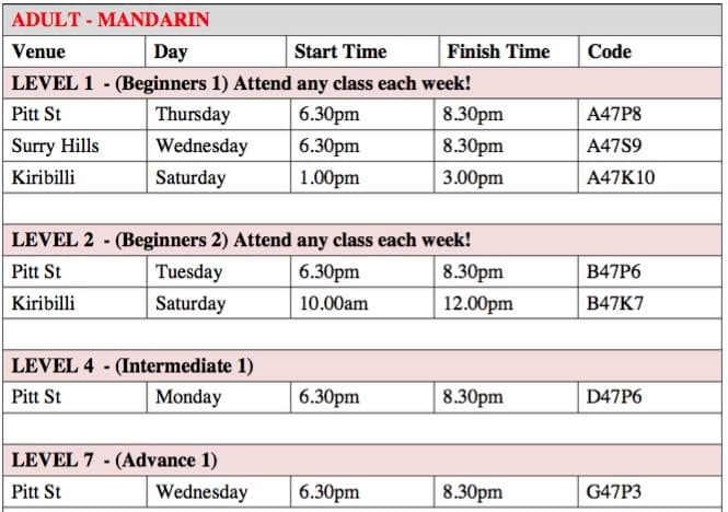 Sydney timetable for Chinese Mandarin